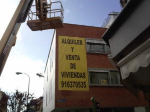 Lona para promoción de viviendas en Madrid Vallecas